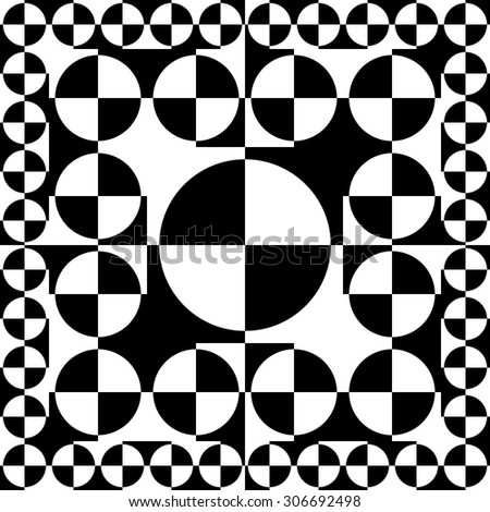 design element. black and white circles seamless pattern - stock vector