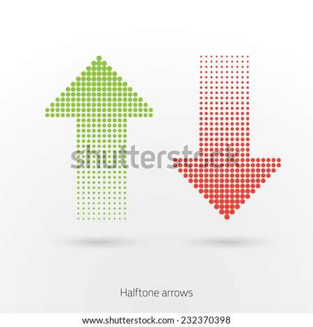 Design element green and red arrows. - stock vector