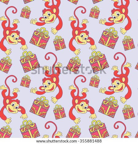 design element, greeting, card, seamless pattern, monkey, gift, holiday, red