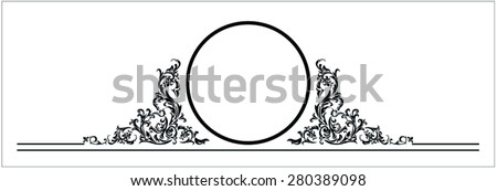 Design element in floral style with copy space  - stock vector