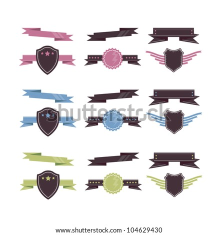 Design Element Set of Coloured Ribbons and Banners - stock vector
