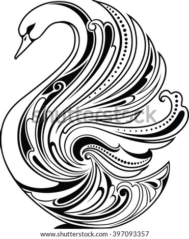 Design element. Stylized swan