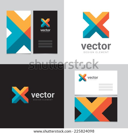 Design element with two business cards - 05 - stock vector
