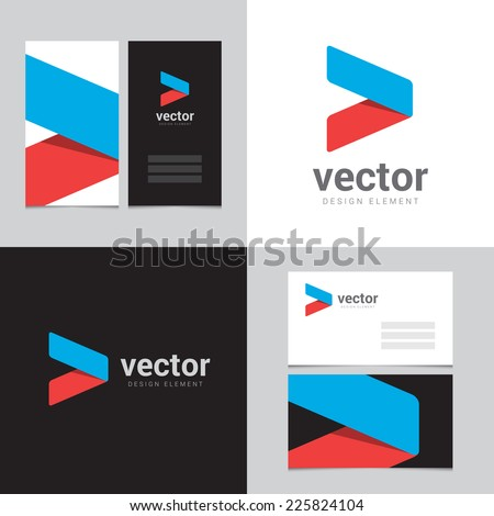Design element with two business cards - 07 - stock vector