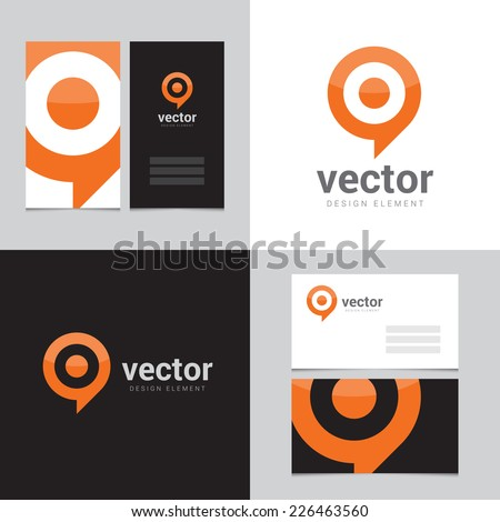 Design element with two business cards - 02 - stock vector