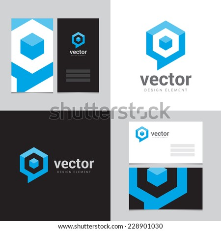 Design element with two business cards - 12 - stock vector