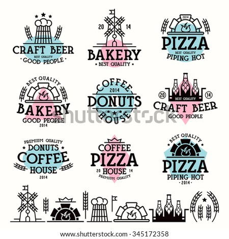 Design elements and labels for bakery, cafe, pizzeria and craft beer. Color print on white background - stock vector