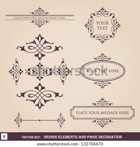 Design elements and page decoration set 2 - stock vector