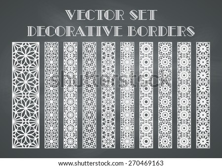 Design elements and page decoration. Vector set of borders on chalkboard background