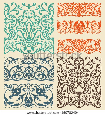 Design elements. Borders with classical style - stock vector