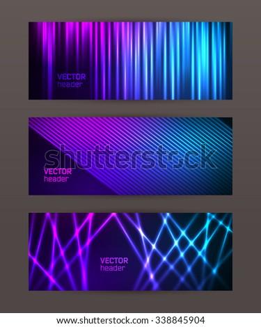 Design elements business presentation template. Vector illustration horizontal web banners background, backdrop glow light effect . EPS 10 for web buttons template, web site page presentation - stock vector