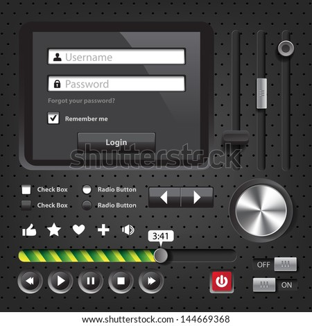 Design elements Dark User Interface Controls with login window