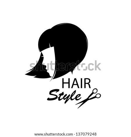 Design elements for barber shop .  Women hairstyle. Black and white. Hand drawing illustration. - stock vector