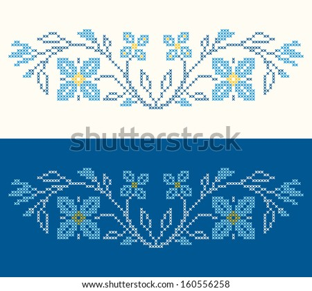 Design elements for cross-stitch embroidery in Ukrainian traditional ethnic style. Blue colors, vector illustration. - stock vector