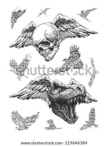 design elements for halloween. hand drawn. vector eps8 - stock vector