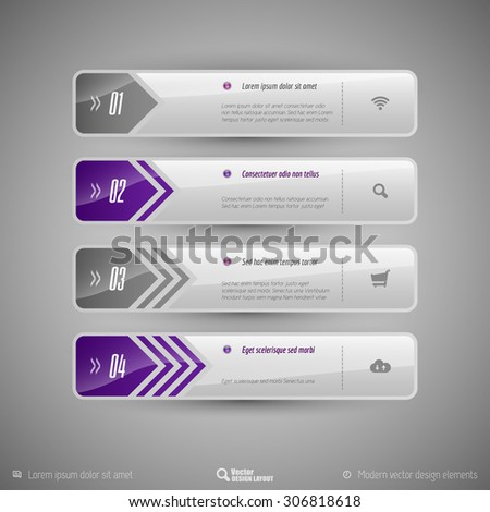 Design elements for infographics, layout, web pages... Modern symbols on the elegant tabs. - stock vector