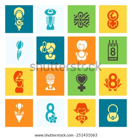 Design Elements for International Women's Day March 8, Icons. Vector