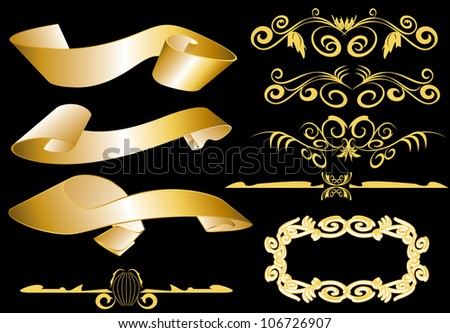 design elements for page in gold