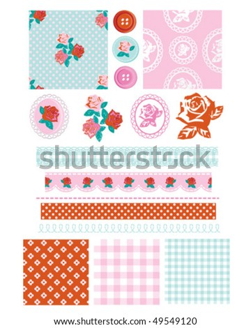 Design Elements for scrap booking, greeting cards, wallpaper, textiles, stencils all patterns are repeat. - stock vector