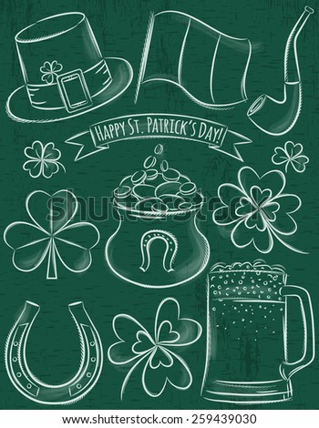 Design elements for  St Patricks Day, shamrock, horseshoe, beer, pipe, hat,  Irish flag,  pot - stock vector