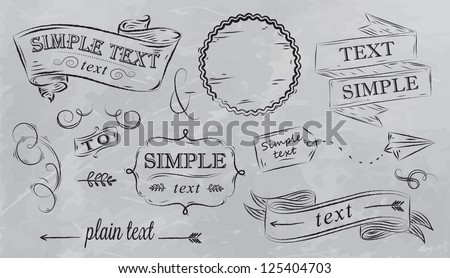 Design elements in grey color. Stylized drawing on the board, box, label, pattern, decoration, ribbon, arrow, reception design, on a grey background