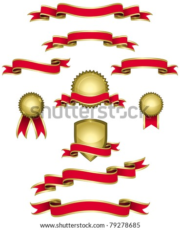 Design elements in red and gold. (Set 1) Set of banners, ribbons, seals in red and gold. - stock vector