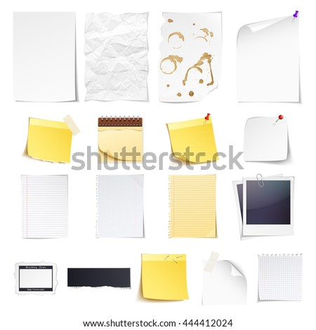 Design elements Notebook, simple white paper, grungy torn paper, lined and squared notepad pages, photo frame, news paper cut and sticky notes isolated on white background. - stock vector
