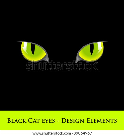 Design elements of black cat with green eyes - stock vector