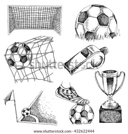 Design elements of soccer. Doodle illustration eps10 - stock vector