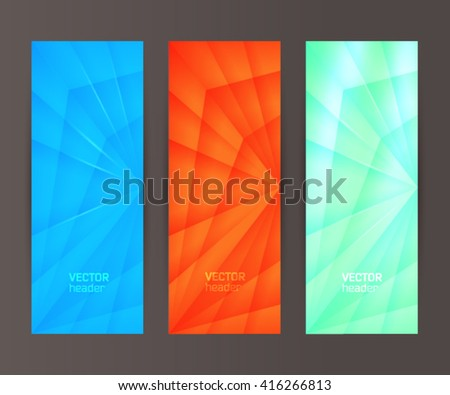 Design elements presentation template. Set vertical banners background, backdrop crystal glow light effect. Vector illustration EPS 10 for web buttons template, business card layout, web site element