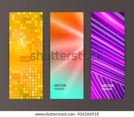 Design elements presentation template. Set vertical banners background, backdrop glow light effect. Vector illustration EPS 10 for web buttons template, business card layout, web site element - stock vector