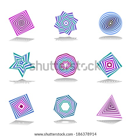 Design elements set. Abstract color icons. Vector art. - stock vector