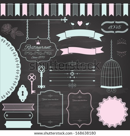 Design elements set, drawn by colored chalk on retro chalkboard background - frame, divider, sign board, bird cage, ribbon, rose, birds, antique keys, garland, doily. Vector illustration.  - stock vector