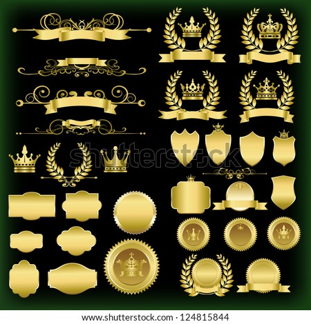 Design elements set. Gold emblems with shield and crown on a black background. Collection of vintage retro, design elements, divider, border, symbol, crown.  Vector illustration - stock vector