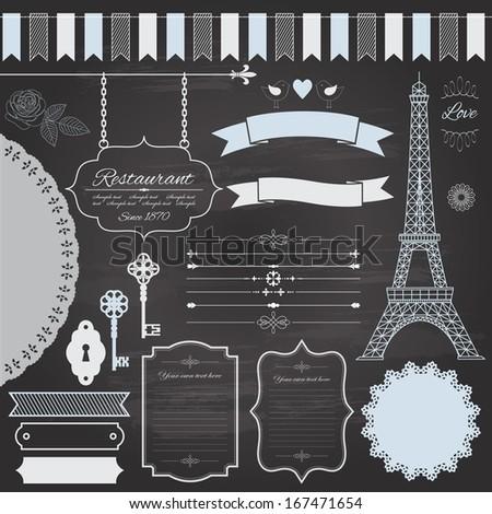 Design elements set on retro chalkboard background - frame, divider, sign board, eiffel tower, ribbon, rose, birds, antique keys, garland, doily. Vector illustration.  - stock vector