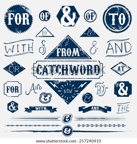 Design elements set vintage catchword - stock vector