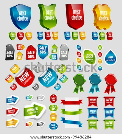 Design elements: tags, stickers, ribbons and other. Vector illustration.