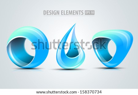 Design elements. Vector icons. Corporate identity icon. Blue abstract shapes - stock vector