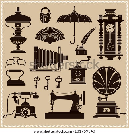 Design Elements -?? Vintage Ephemera And Objects Of Old Era - stock vector