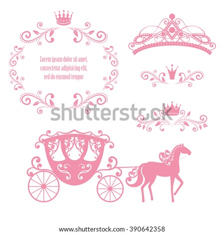 Design elements, vintage royalty frame with crown, ornamental style diadem, carriage in pink color. Vector illustration. Isolated on white background. Can use for birthday card, wedding invitations. - stock vector