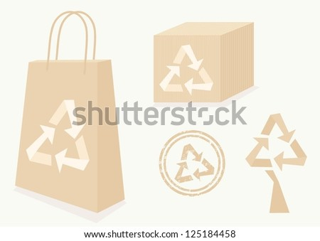 design elements with recycle arrows sign - stock vector