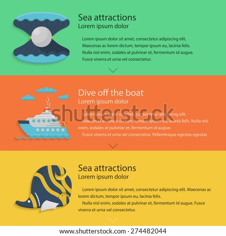 Design elements with scallop, steam ship and butterfly-fish for sea active leisure on colored backgrounds with sample text for your business or website. Flat vector illustration - stock vector