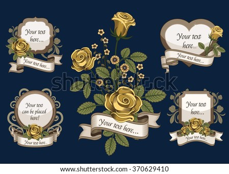 Design elements with yellow flowers on blue background. - stock vector