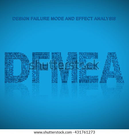 Design failure mode and effect analysis  typography background. Blue background with main title DFMEA filled by other words related with design failure mode and effect analysis  method
