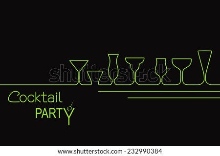 Design for cocktail party invitation or bar menu with different types of cocktail glasses - stock vector