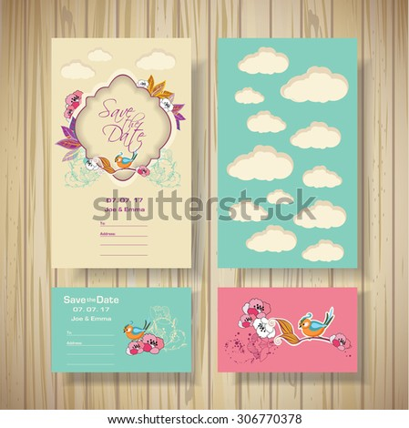 Design for invitations, birthday, wedding,  save the date. wooden texture. - stock vector