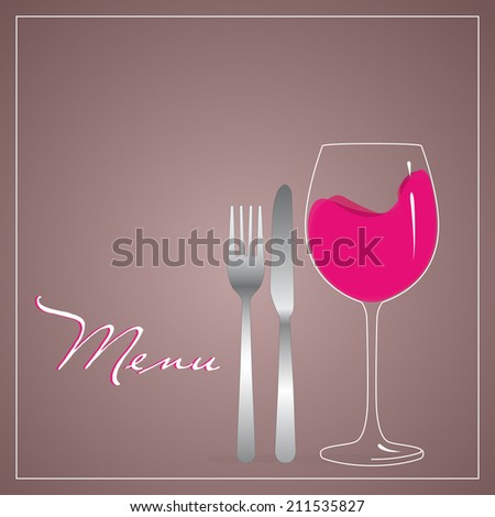 design for menu, knife and fork steel and glass beaker filled with red wine on light background