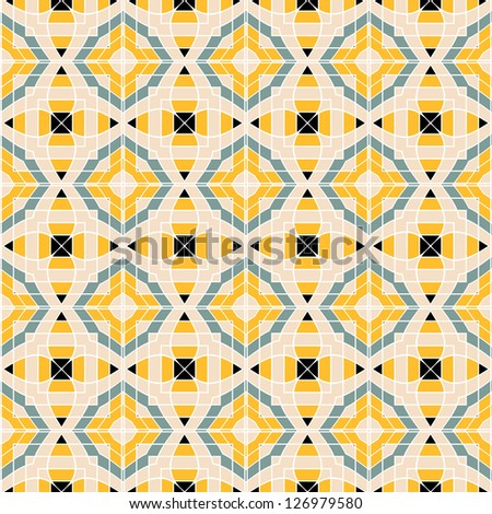 Design for seamless tiles with geometric lines and squares in yellow, black, grey