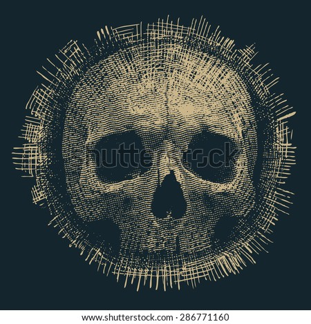 Design for t-shirt print with skull and textures. vector illustration. - stock vector