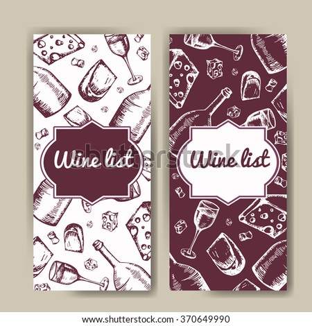 Design for wine list. Restaurant template for invitation, menu, banner or etc. Wine concept design. Vector illustration - stock vector